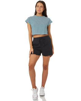 TEAL WHITE WOMENS CLOTHING SILENT THEORY TEES - 6070064TEAL