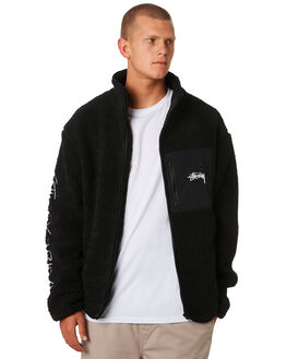 BLACK MENS CLOTHING STUSSY JACKETS - ST096509BLACK