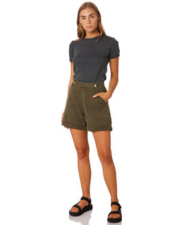 ARMY GREEN WOMENS CLOTHING THRILLS SHORTS - WTS9-305FARMY