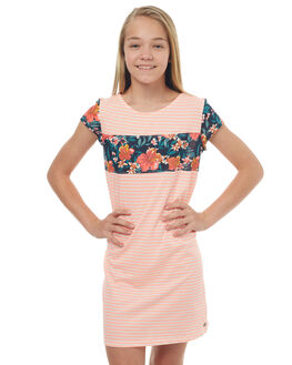 MARSHMELLOW STRIPE KIDS GIRLS ROXY DRESSES - ERGKD03049WBT3