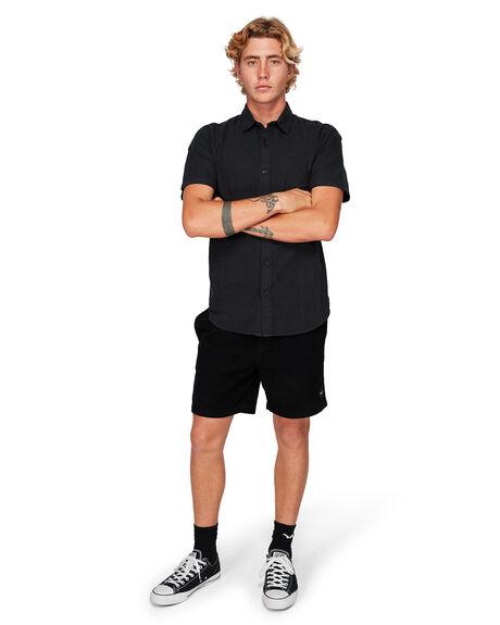 BLACK MENS CLOTHING RVCA SHIRTS - RV-R182191-BLK