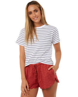 NAVY WHITE STRIPE WOMENS CLOTHING ALL ABOUT EVE TEES - 6403120NVWHT