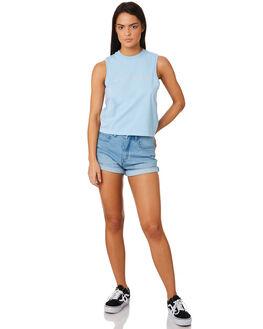 DUSK BLUE WOMENS CLOTHING AFENDS SINGLETS - W184085DBLU