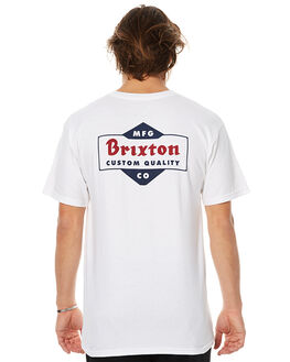 WHITE NAVY MENS CLOTHING BRIXTON TEES - 06518WNVY