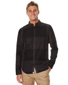 BLACK MENS CLOTHING OURCASTE SHIRTS - W1031BLK