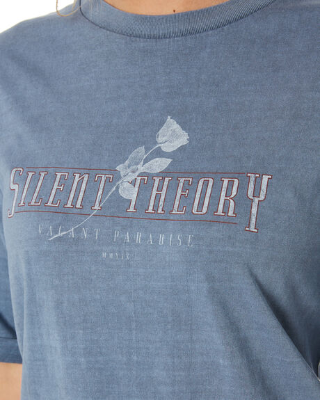 DENIM BLUE WOMENS CLOTHING SILENT THEORY TEES - 6053017DEN