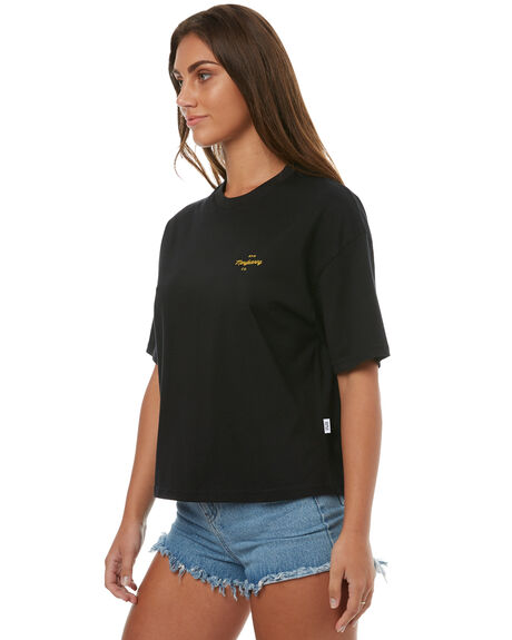 BLACK WOMENS CLOTHING RPM TEES - 7HWT02CBLK