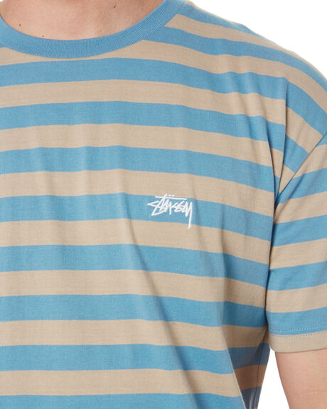 DUSTY BLUE TAUPE MENS CLOTHING STUSSY TEES - ST002101DTBT