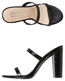 BLACK CROC WOMENS FOOTWEAR THERAPY HEELS - SOLE-6224CROC