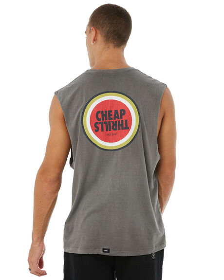 FADED GREY MENS CLOTHING THRILLS SINGLETS - TA8-110GFGRY