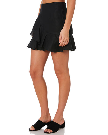 BLACK LINEN WOMENS CLOTHING MLM LABEL SKIRTS - MLM479BBLK