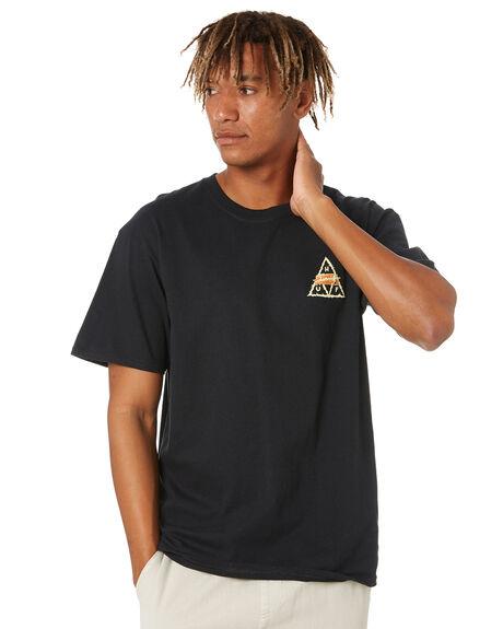 BLACK MENS CLOTHING HUF TEES - TS01554-BLACK