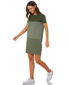 KHAKI STRIPE WOMENS CLOTHING SWELL DRESSES - S8201447KHSTP