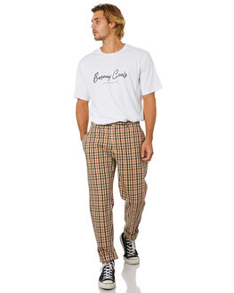 BEIGE CHECK MENS CLOTHING BARNEY COOLS PANTS - 701-Q120BCHK