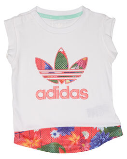 WHITE MULTICOLOUR KIDS TODDLER GIRLS ADIDAS ORIGINALS TEES - CE4360WTMLT