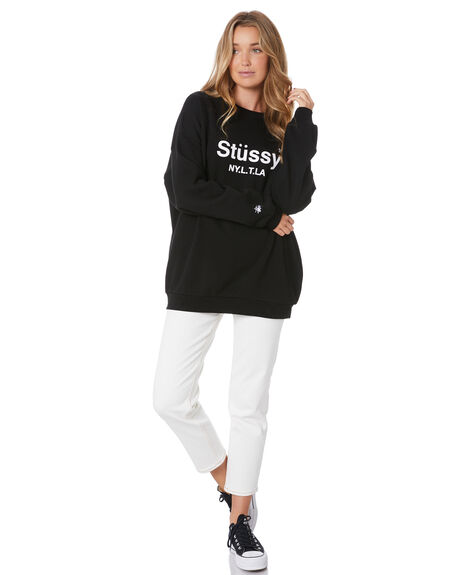 BLACK WOMENS CLOTHING STUSSY JUMPERS - ST105307BLK