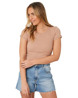 MOCHA WOMENS CLOTHING NUDE LUCY TEES - NU23738MOCHA
