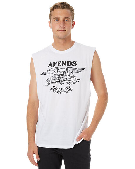 WHITE MENS CLOTHING AFENDS SINGLETS - 01-05-110WHT