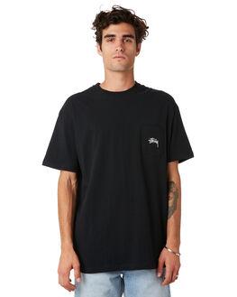 BLACK MENS CLOTHING STUSSY TEES - ST092010BLK