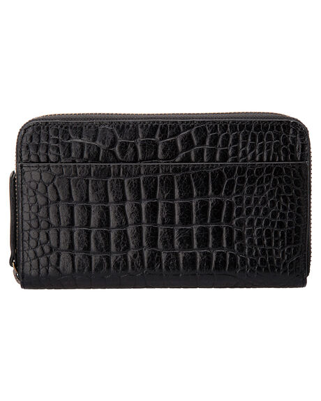 BLACK CROC EMBOSS WOMENS ACCESSORIES STATUS ANXIETY PURSES + WALLETS - SA1254BKCRC