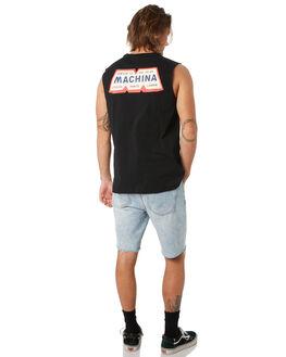 BLACK MENS CLOTHING DEUS EX MACHINA SINGLETS - DMP91152BBLK