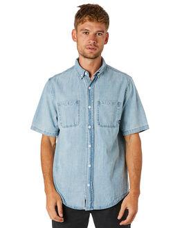 LIGHT WASH BLUE MENS CLOTHING THRILLS SHIRTS - TDP-229LEWSBLU