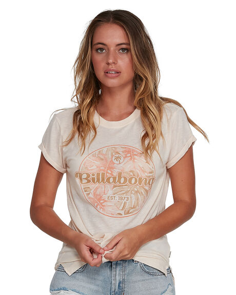 CREAM WOMENS CLOTHING BILLABONG TEES - BB-6504001-CRM
