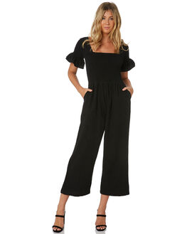 BLACK WOMENS CLOTHING RUE STIIC PLAYSUITS + OVERALLS - SA-20-26-1BLK