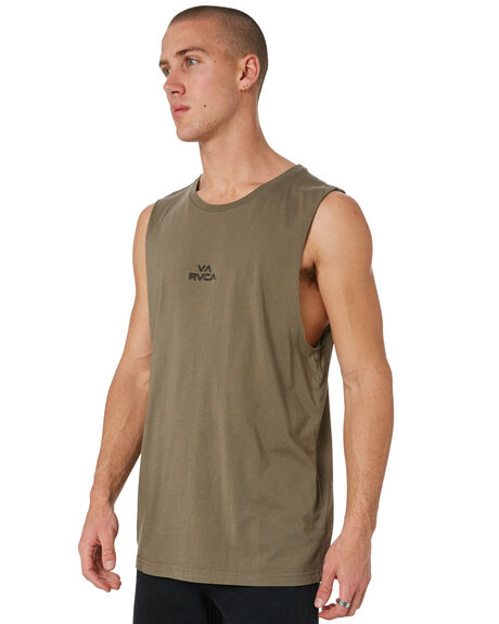 OLIVE MENS CLOTHING RVCA SINGLETS - R181012OLIVE