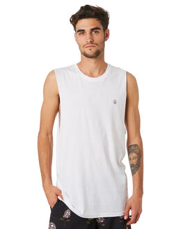 WHITE MENS CLOTHING VOLCOM SINGLETS - A3731624WHT