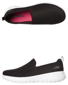 BLACK WHITE WOMENS FOOTWEAR SKECHERS SLIP ONS - 15600BKW