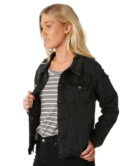 FADED BLACK WOMENS CLOTHING THRILLS JACKETS - WTDP-203FBFBLK