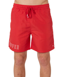 RED MENS CLOTHING HUFFER BOARDSHORTS - HMSO10STPL-521RED