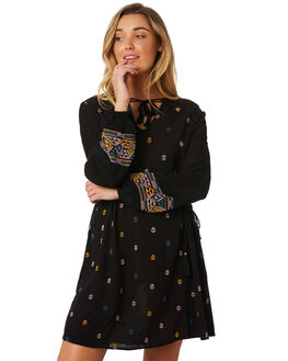 WASHED BLACK WOMENS CLOTHING TIGERLILY DRESSES - T383402WBLK