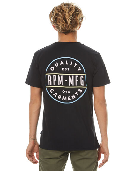 BLACK MENS CLOTHING RPM TEES - 7PMT05ABLK