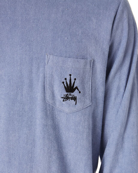 DUSTY BLUE MENS CLOTHING STUSSY TEES - ST015108DTBLU