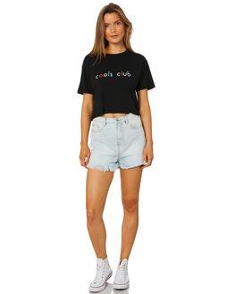 BLACK WOMENS CLOTHING COOLS CLUB TEES - 110-CW1BLK