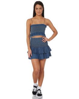 DENIM BLUE WOMENS CLOTHING RVCA FASHION TOPS - R282183DBLU