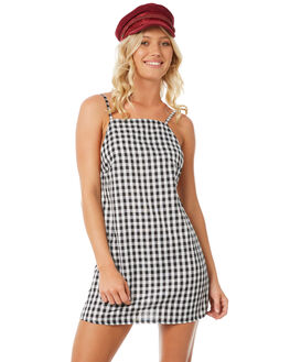 BLACK WHITE CHECK WOMENS CLOTHING LILYA PLAYSUITS + OVERALLS - GHD102-ERLAW18CHCK