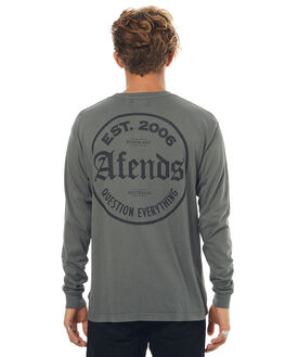 DISTRESSED BLACK MENS CLOTHING AFENDS TEES - 02-02-083DSTRBLK