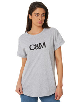 GREY BLACK WOMENS CLOTHING C&M CAMILLA AND MARC TEES - SCMT6506GRYB