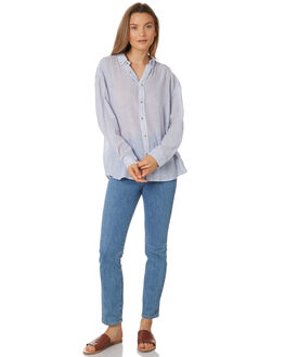 BLUE WHITE WOMENS CLOTHING ROLLAS FASHION TOPS - 12977-534