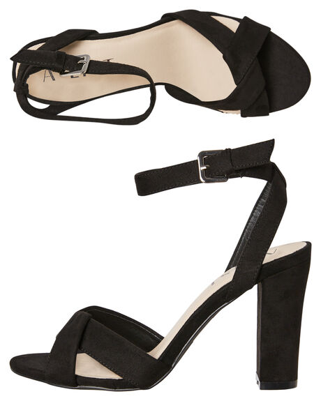 BLACK MICROSUEDE OUTLET WOMENS A LIST HEELS - LOLABLK