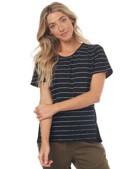 BLACK STRIPE WOMENS CLOTHING SWELL TEES - S8171004BLKST