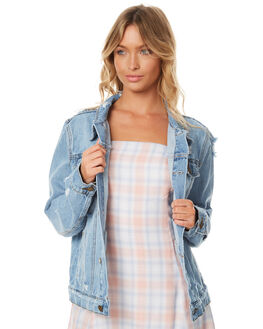 FADED BLUE WOMENS CLOTHING THRILLS JACKETS - WTDP-205EBLU