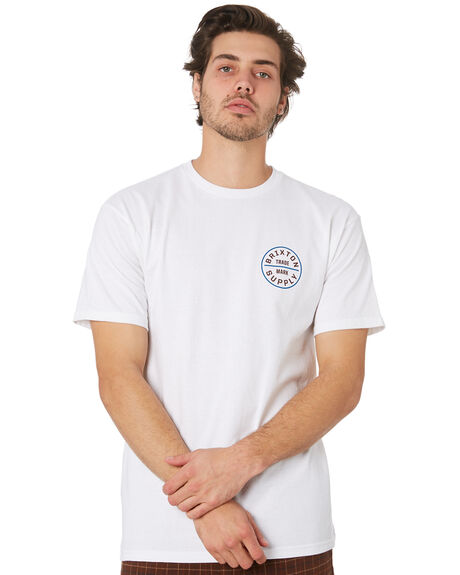 WHITE BURGUNDY MENS CLOTHING BRIXTON TEES - 06281WHBUR