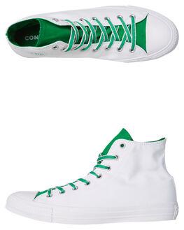 WHITE GREEN MENS FOOTWEAR CONVERSE HI TOPS - 160465GRN
