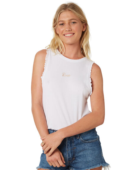WHITE WOMENS CLOTHING RVCA SINGLETS - R293661AWHT