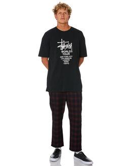 RED BLACK MENS CLOTHING STUSSY PANTS - ST006602REDBK