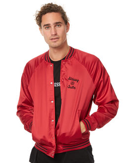DARK RED MENS CLOTHING STUSSY JACKETS - ST077507DRED